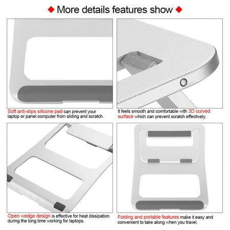 WALFRONT Aluminium Alloy Laptop Stand Folding Portable No-slip Notebook Heat Dissipation Support Holder, Notebook Stand, Portable Laptop Stand - image 3 de 7