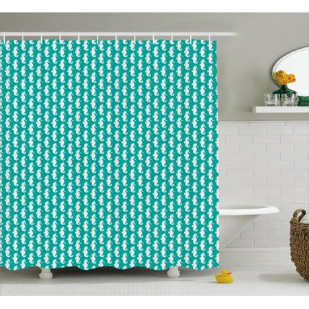 Seahorse Shower Curtain Simplistic Silhouette Shapes In Repeat Tropical Aquarium Theme Fabric Bathroom