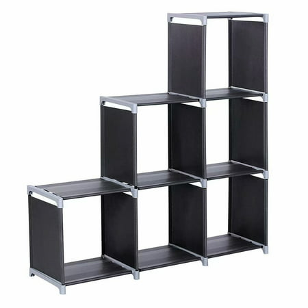Clearance! 6 Cube Storage Shelf Closet Organizer 3-Tier Cube Organizer Cabinet Open Book (Open Offset Angle Shelving)