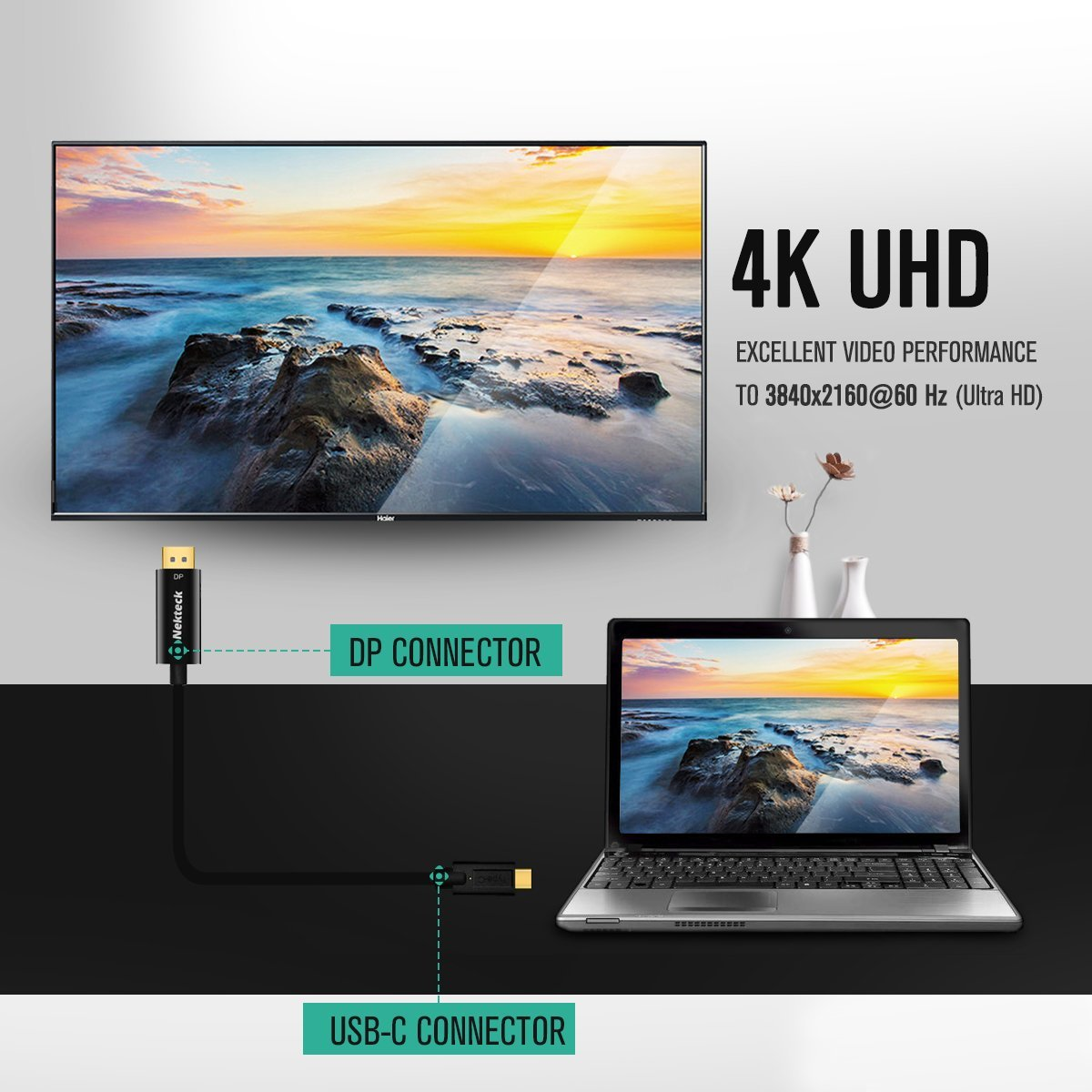 Nekteck USB C to DisplayPort Adapter Cable Thunderbolt 3 to DP 4K 6ft