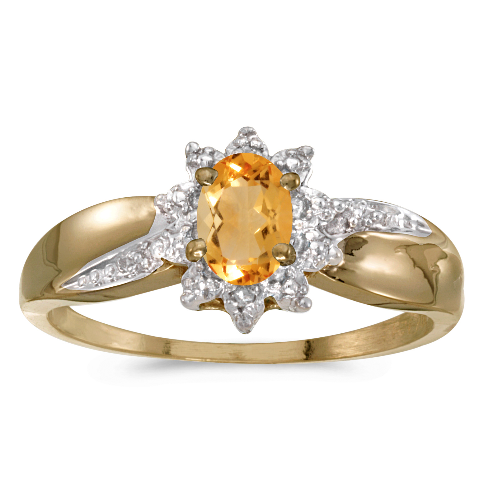 10k Yellow Gold Oval Citrine And Diamond Ring by
