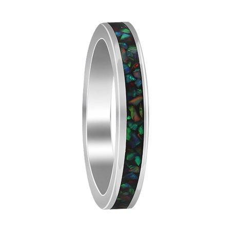 Gem Avenue 925 Sterling Silver Multicolor Opal Eternity Band,3mm Bi Color Tourmaline Gem