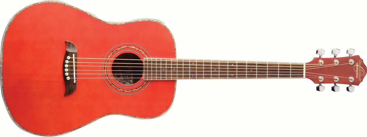 Oscar Schmidt OG1TR 3 4 Size Acoustic Guitar (High Gloss Red) by KMC Music