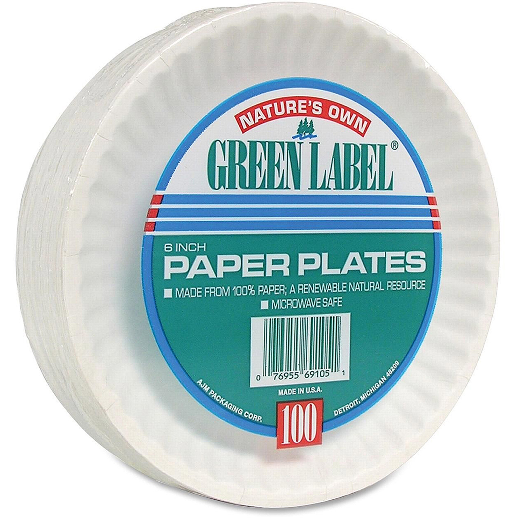 "AJM Nature's Own Green Label Economy Paper Plates, White, 6"", 1000 count"