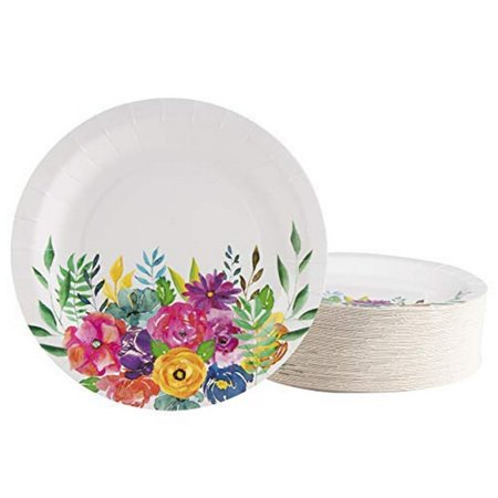 Floral Paper Plates - 80-Pack Disposable 9-Inch Floral Plates, Tea Party, Weddings, Bridal Shower Party Supplies, Assorted Vintage Flowers Print, Round Plates for Appetizer, Lunch, Dessert ()