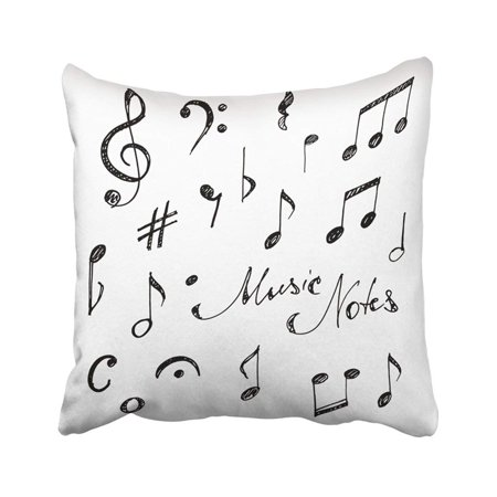 ARTJIA Black Doodle Hand Drawn Music Notes Sketch White Clef Scribble Sign Melody Song Treble Pillowcase Pillow Cover 20x20 inches ()