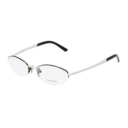 New Vera Wang V122 Womens/Ladies Designer Half-Rim Black / White Two-tone Simple & Elegant Hip Frame Demo Lenses 49-17-135 Flexible Hinges (Two Tone Eyeglasses)