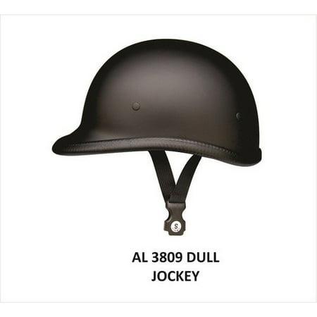 Unisex Motorcycle Biker Nature 2XL Size Jockey Flat Black Novelty Helmet With Y Straps