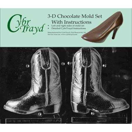 Cybrtrayd K075AB 3D Cowboy Boot Chocolate Candy Mold Bundle with 2 Molds and Exclusive Cybrtrayd Copyrighted 3D Chocolate Molding (3d Chocolate Candy Mold)