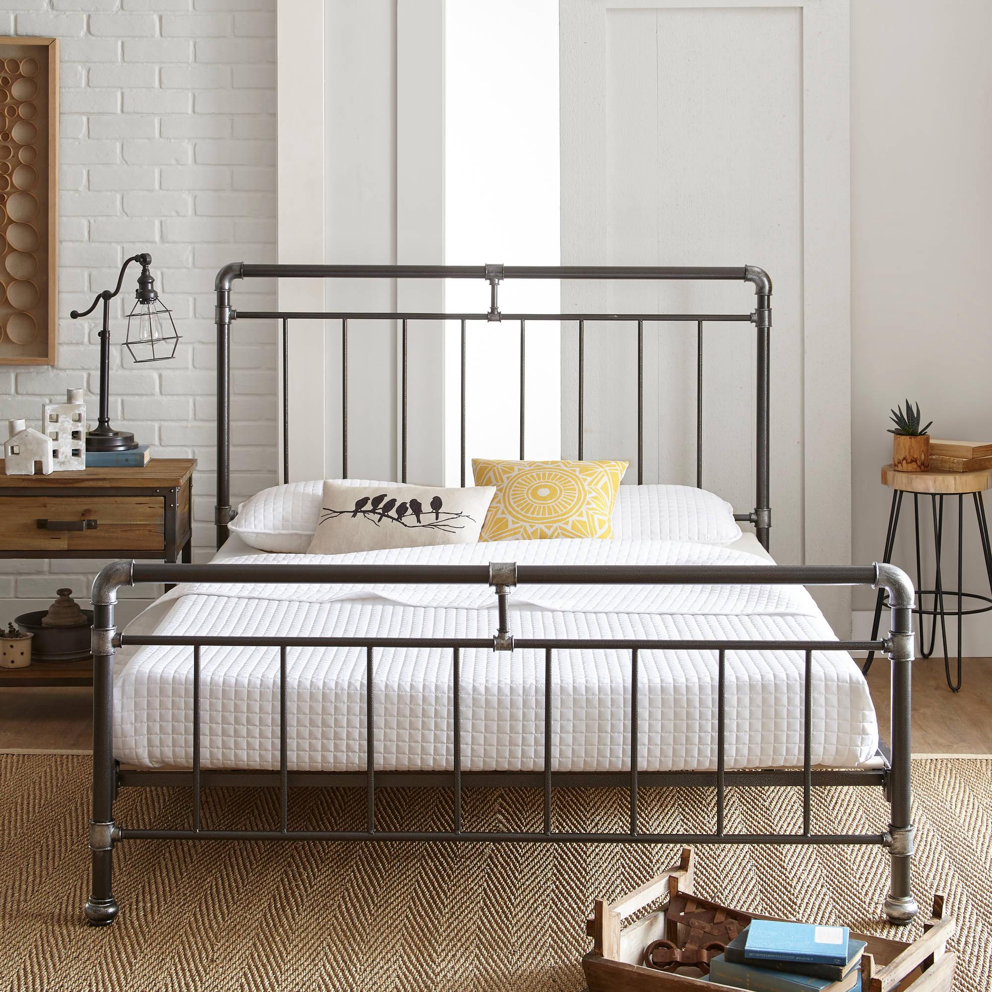 Platform Bed Frames Metal premier vintage pipeworks queen metal platform bed frame - walmart