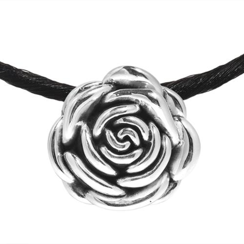 Beloved Shiny Rose .925 Sterling Silver Silk Necklace (Thailand)