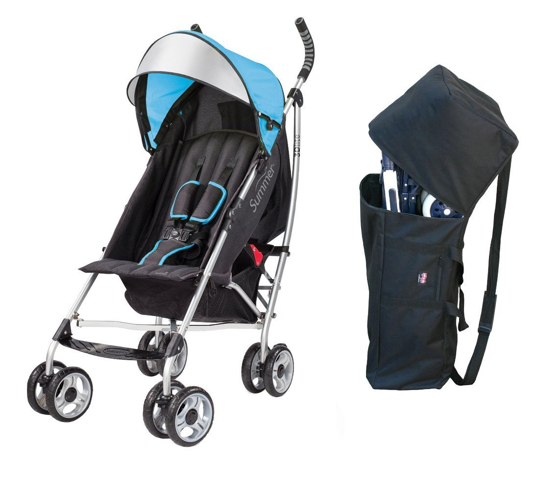 Summer Infant 3D Lite Convenience Stroller with Padded Travel Bag, Caribbean Blue