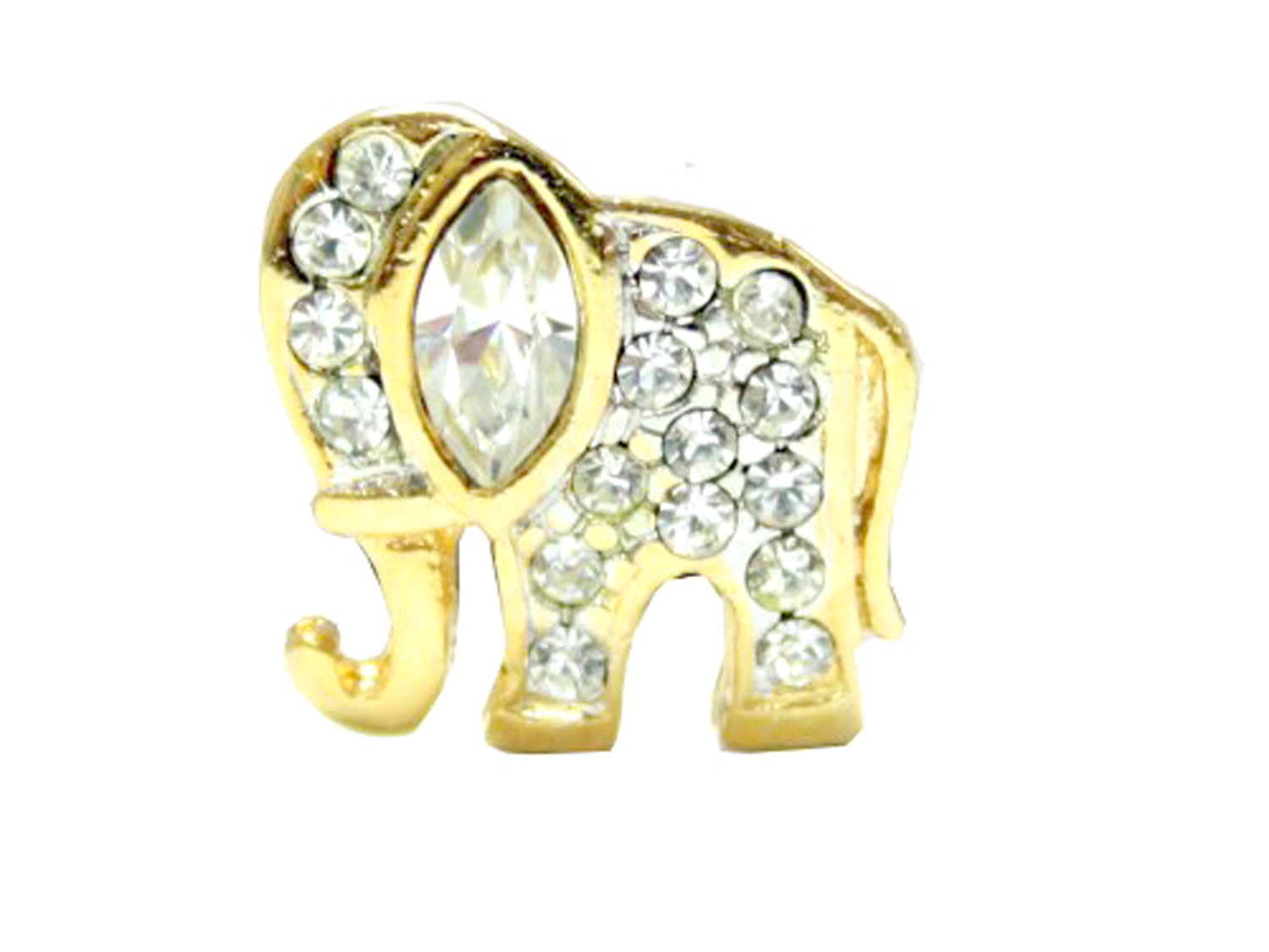 Petite Gold Tone Elephant Brooch Pin with Rhinestones by