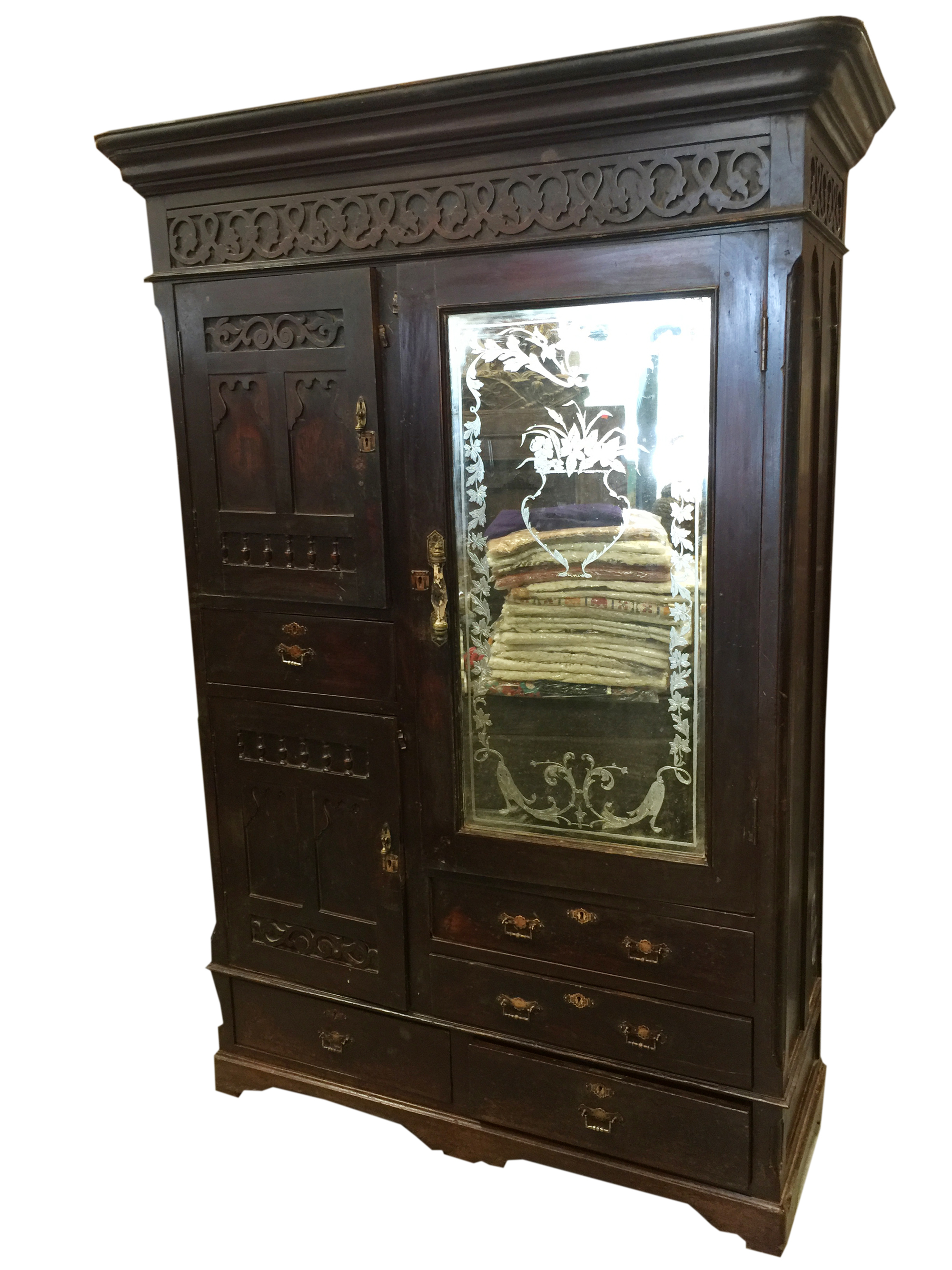 Genial Mogul Antique Armoires Hand Carved Rosewood Etched Mirror Vintage Calcutta  Cabinet Rustic Indian Furniture 18c