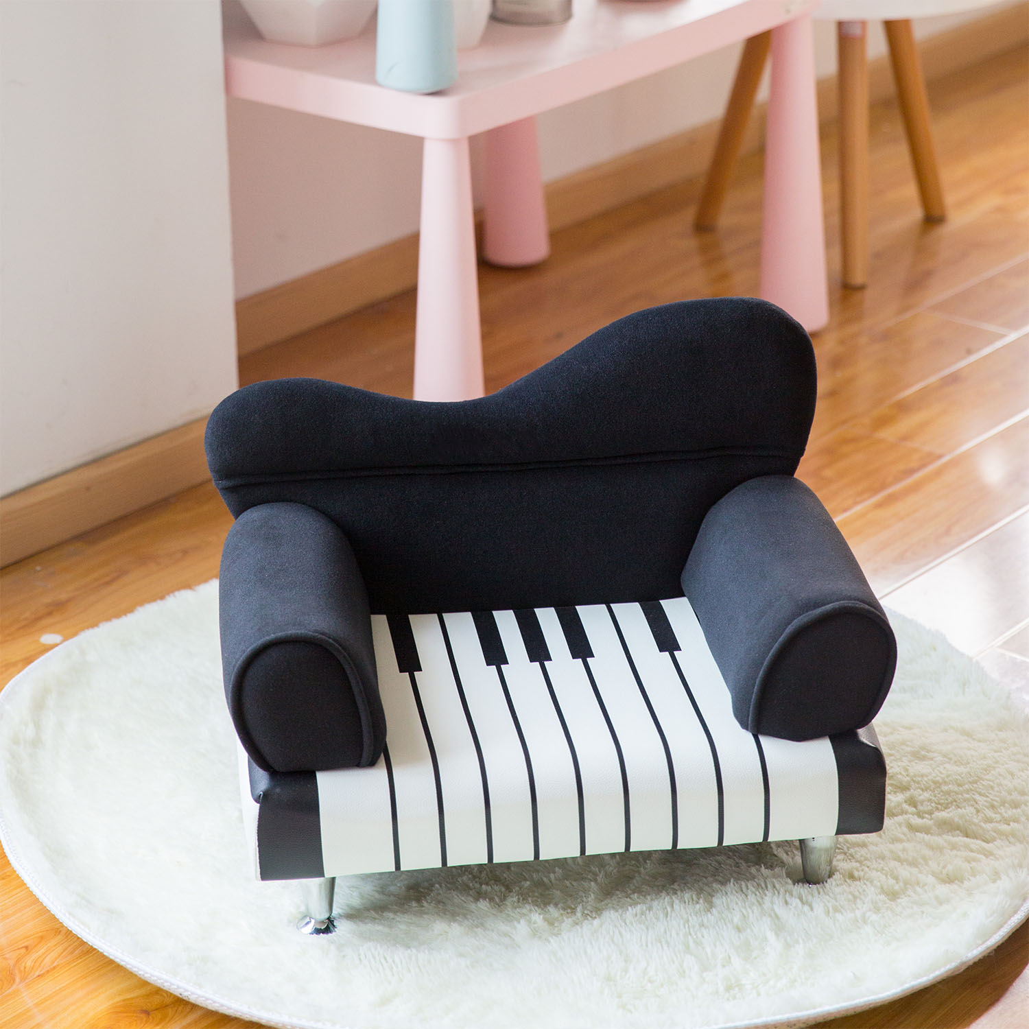 Kinbor Piano Kids Sofa Leather Upholstered Couch Sturdy Wood Construction Armrest Chair for Preschool Children