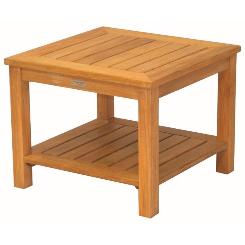Three Birds Casual Newport Square Patio End Table in Teak