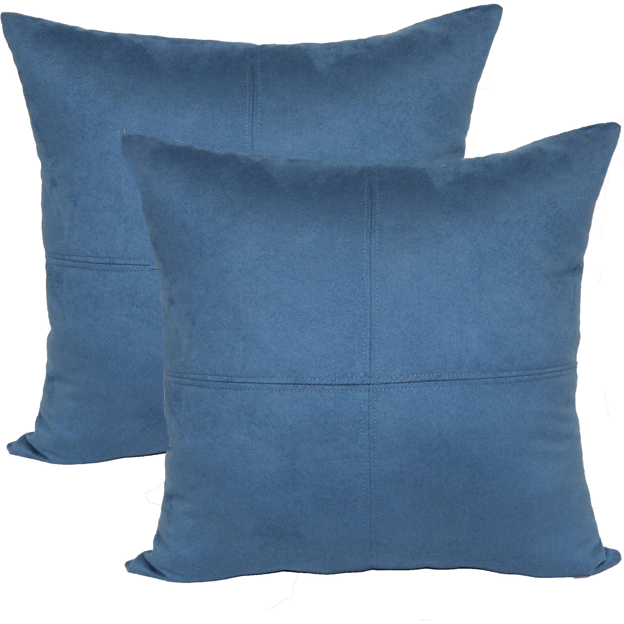 4 panel suede decorative pillow 2 pack - Blue Decorative Pillows