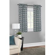Mainstays Thermal Wave Print Room Darkening Rod Pocket Window Curtain Panel, Set of 2, Teal, 30 x 54
