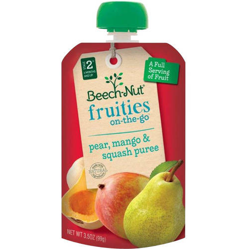Beech-Nut Fruities on-the-Go Pear, Mango & Squash Puree Baby Food, 3.5 oz, (Pack of 12)