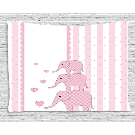 Elephant Nursery Decor Tapestry, Vertical Striped Backdrop Cute Pink Animals with Hearts Retro, Wall Hanging for Bedroom Living Room Dorm Decor, 60W X 40L Inches, Light Pink White, by Ambesonne](Elephant Nursery Decor)
