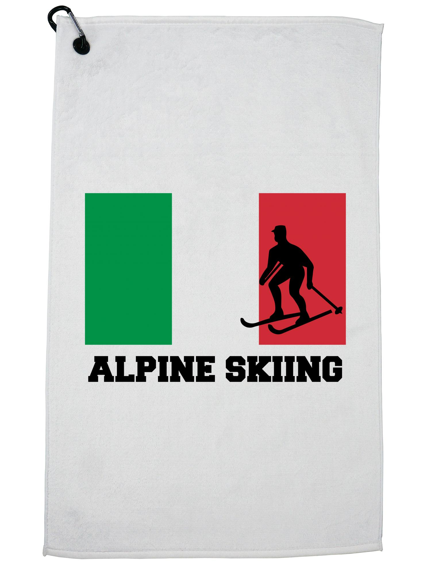 Italy Olympic Alpine Skiing Flag Silhouette Golf Towel with Carabiner Clip by Hollywood Thread