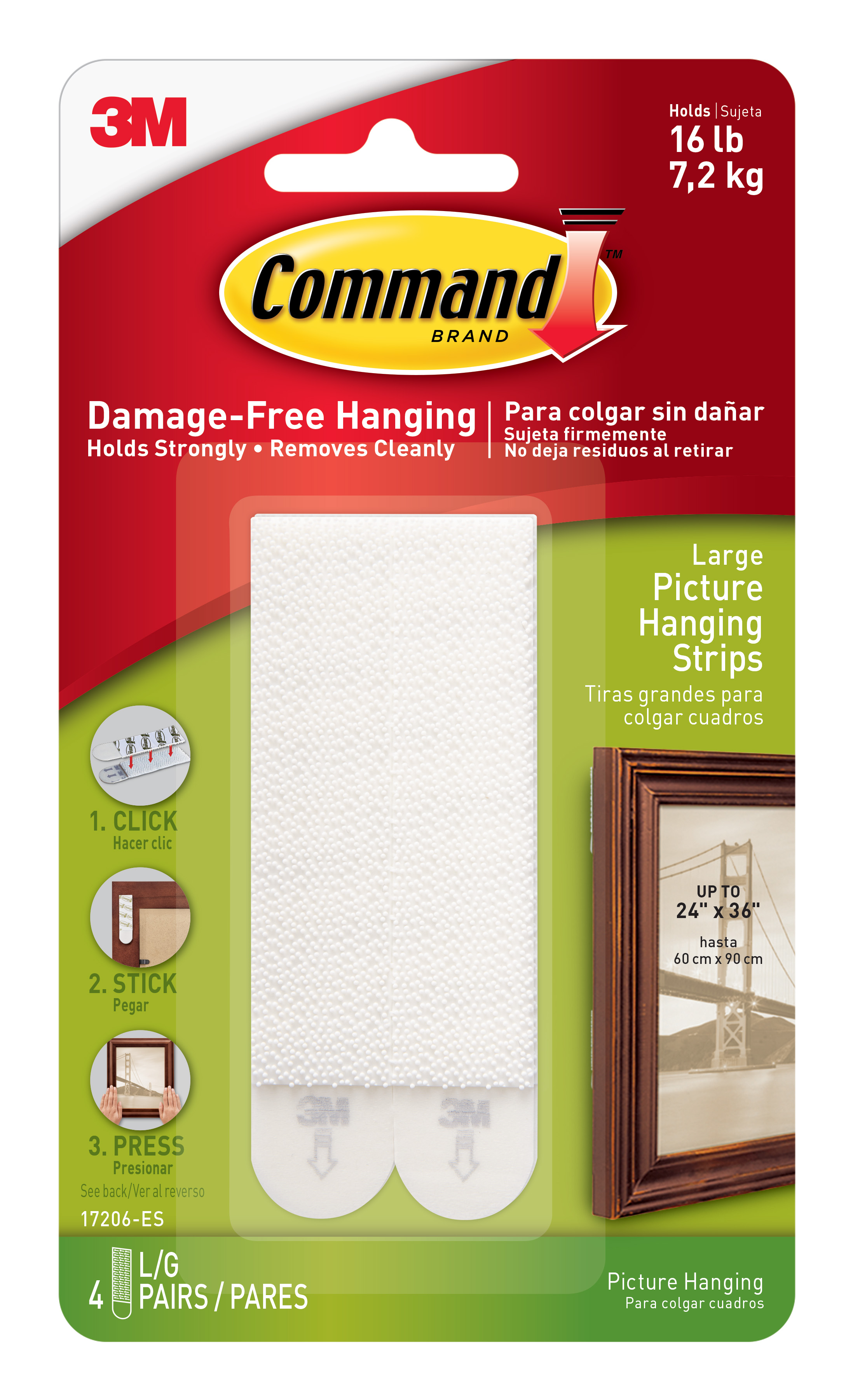 3M Command Damage Free-Hanging Large Picture Hanging Strips - 4 PRS ...