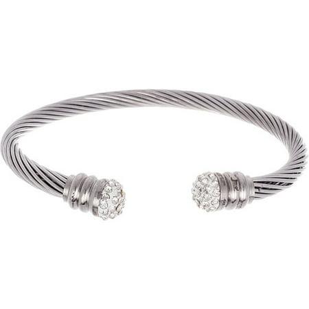 Silver-Tone Stainless Steel Swarovski Cubic Zirconia Cable Style Open Cuff (Swarovski Crystal Bangle Cuff)