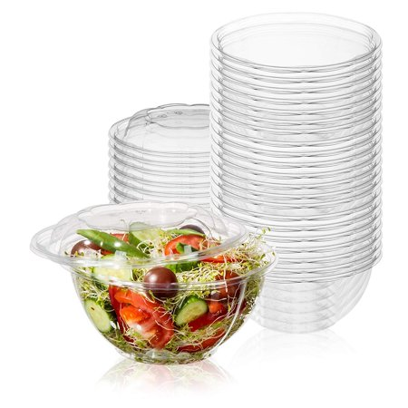 50-Pack 32oz Plastic Disposable Salad Bowls with Lids - Eco-Friendly Clear Food Containers - Extra-Thick Materials - Portable Serving Bowl Set to Pack Lunch - Super Strong Seal To Preserve - Super Bowl Items