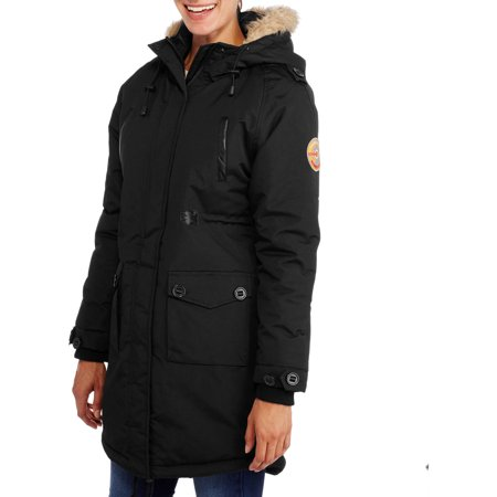 Fahrenheit Women's Long Puffer Coat With Fur-Trim Hood