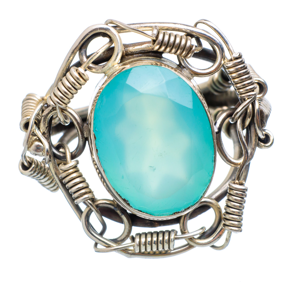 Ana Silver Co Large Aqua Chalcedony 925 Sterling Silver Ring Size 6.5 Handmade Jewelry RING854158 by Ana Silver Co.