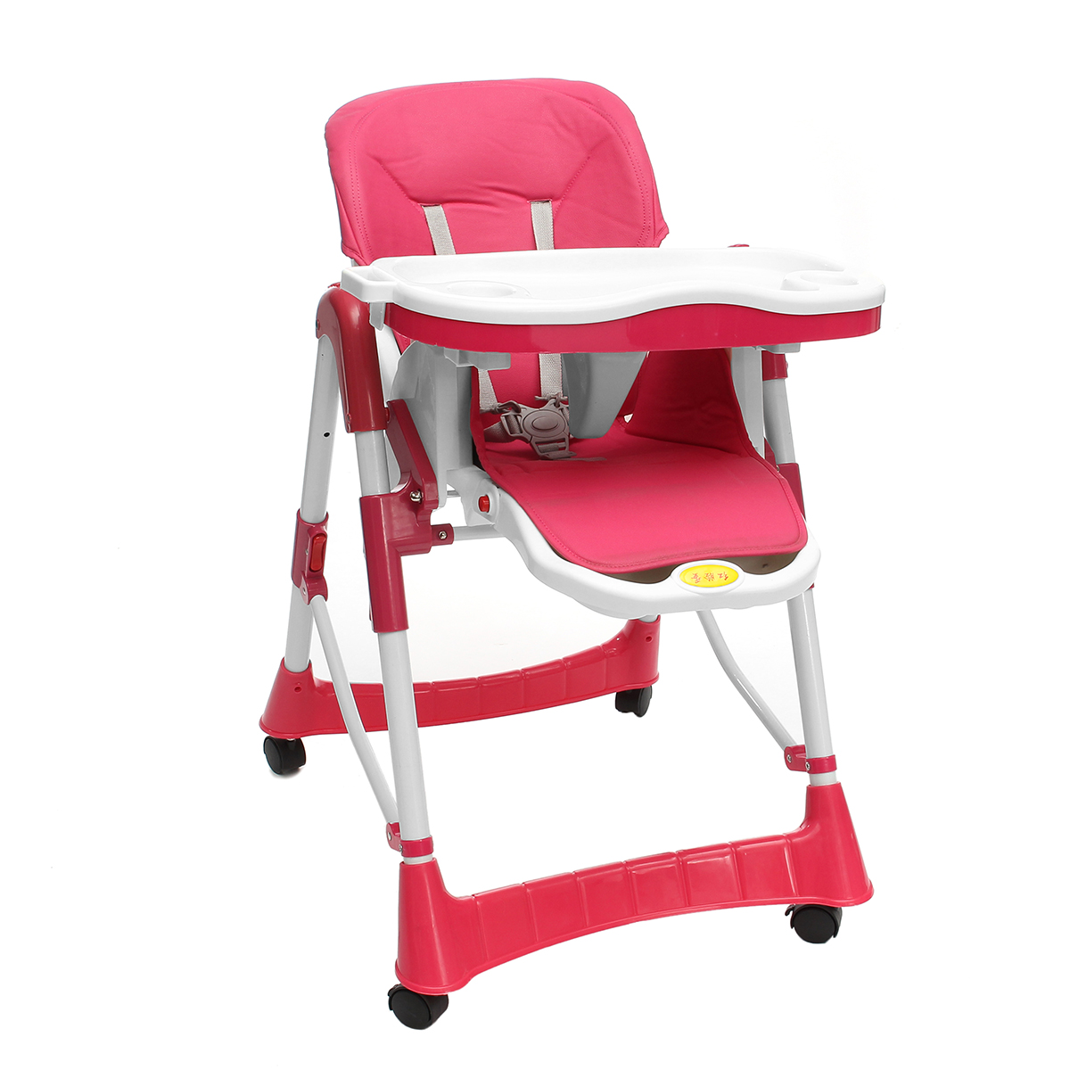 Red/Blue Baby Child High Chair Adjustable Foldable Reclinable Feeding Seatbelts 4 Wheels