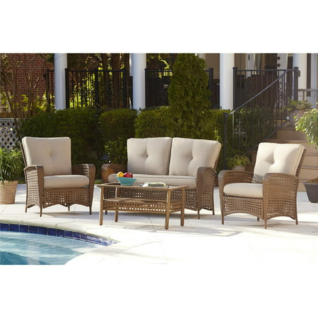 Woven Top Conversation Table (Cosco Outdoor 4-Piece Lakewood Ranch Steel Woven Wicker Patio Furniture Conversation Set with Cushions and Coffee Table, Brown)