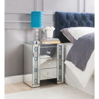 ACME Sonia 3-Drawer Mirrored Nightstand with Faux Agate