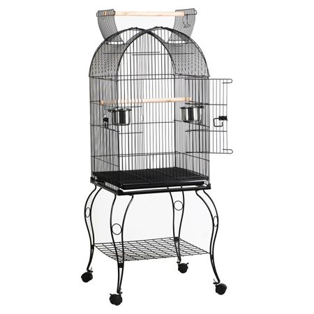 Yaheetech Parrot Bird Cage Open Top/ Stand Bar / Slide-Out Tray on Wheels Black Iron