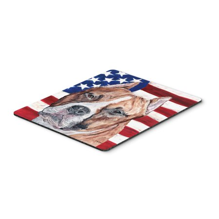 Staffordshire Bull Terrier Staffie with American Flag USA Mouse Pad, Hot Pad or Trivet SC9632MP