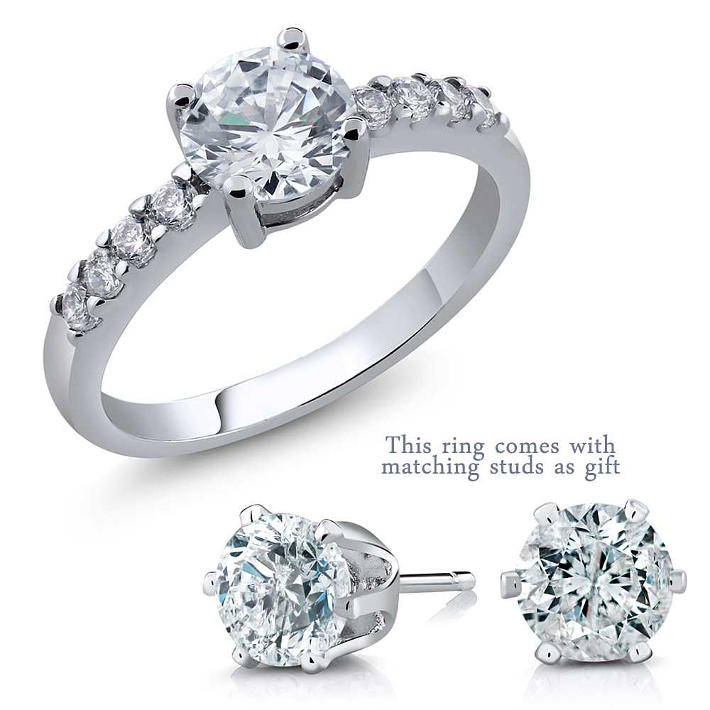 4.50 Ct 7mm Round Center Zirconia Ring Available in 6 Colors