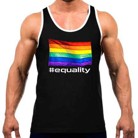 Men's Gay Rainbow Flag #Equality V192 Tee White Trim Black Tank Top Medium Black