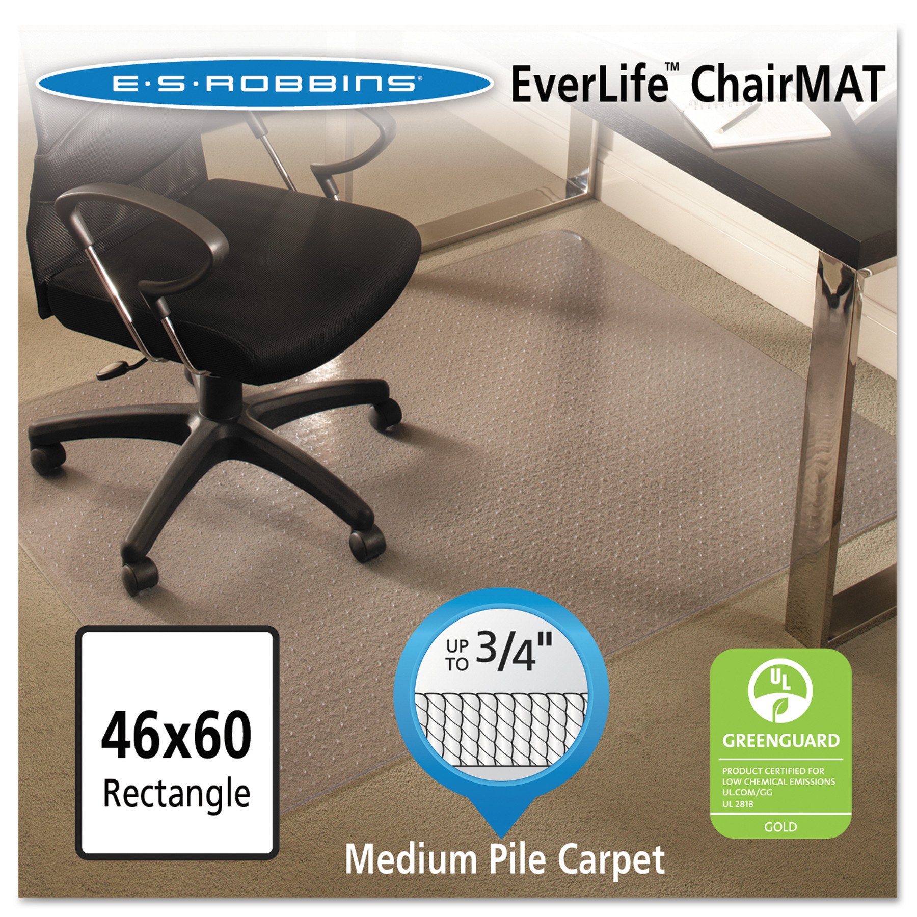 ES Robbins EverLife 46 x 60 Chair Mat for Medium Pile Carpet, Rectangular