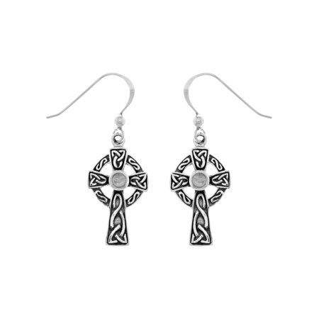 Sterling Silver Celtic Cross Dangle Earrings with Rainbow