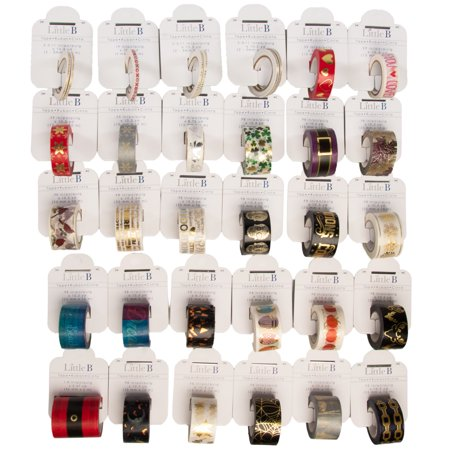 Little B 30 Rolls Assorted Thick & Thin Washi Tape Set Bulk Decorative Colored Masking Tape DIY Crafts - Diy Tape