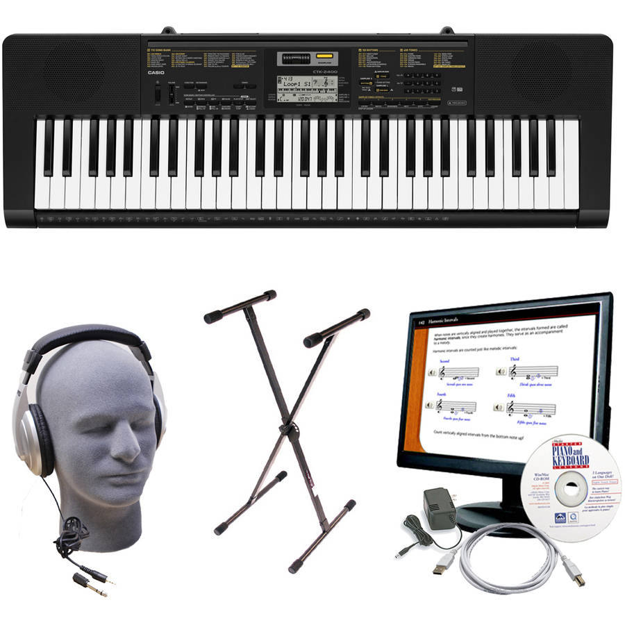 Casio CTK-2400 61-Key Portable Premium Keyboard Package with Samson HP30 Headphones, Stand, Power Supply, 6' USB Cable and eMedia Instructional Software
