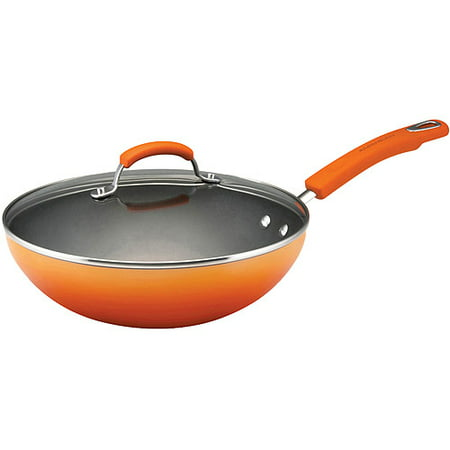 Rachael Ray Hard Enamel Nonstick 11-Inch Covered Soup, Sauce and Saut? Pan, Orange