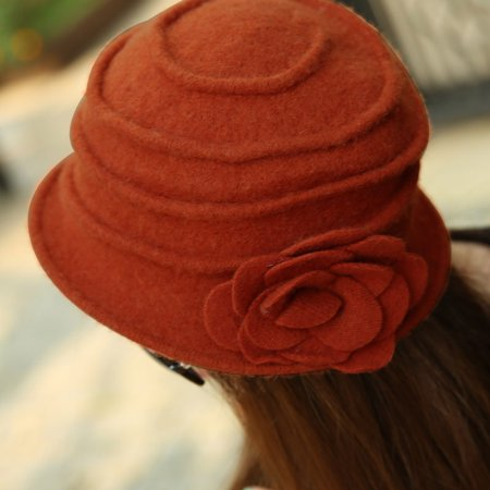 e1c00e7b5 Women Flower Bowknot Wool Felt Bucket Hat Packable Foldable Cloche Beanie  Cap