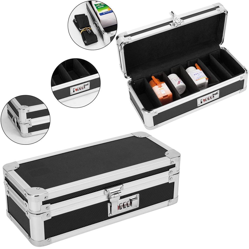 Zimtown Locking Medicine Storage Organizer Black High Quality Aluminum Alloy Tank Storage Box