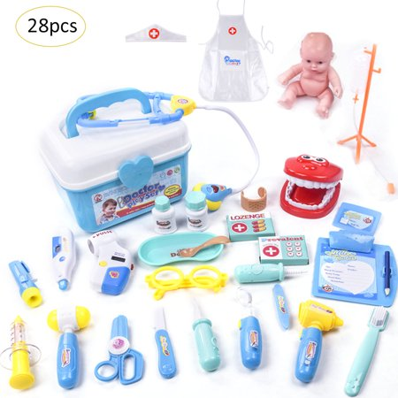 418df05b759e Children s Play House Puzzle Simulated Medical Box Doctor Toy 28 Piece Set  Girl Role Play Doll Doctor Clothes - Walmart.com