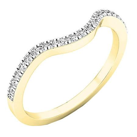 Dazzlingrock Collection 0.15 Carat (ctw) 10K Round White Diamond Anniversary Ring Wedding Guard Band, Yellow Gold, Size 4 ()