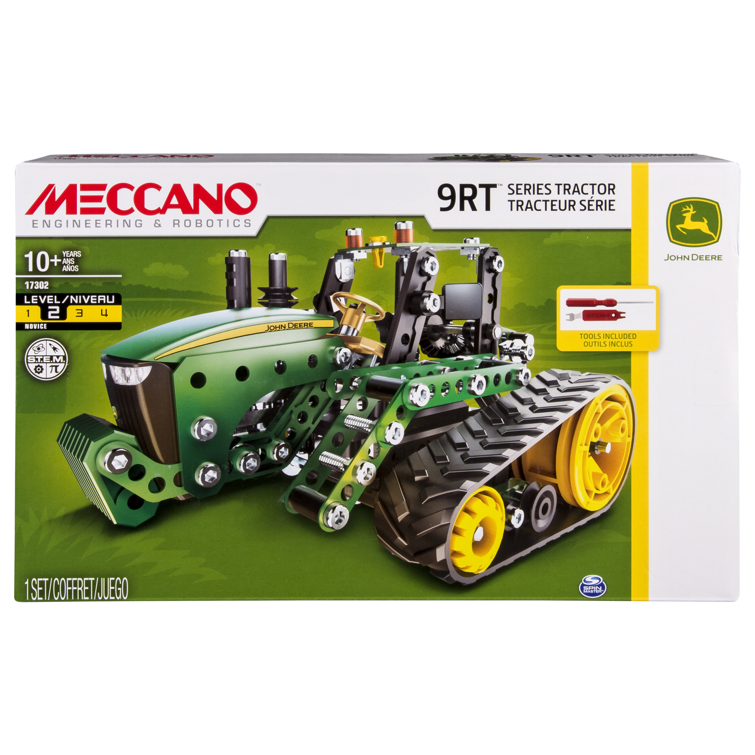 Meccano by Erector, John Deere 9RT Series Tractor Building Set, STEM Engineering Education Toy for Ages 10 and up