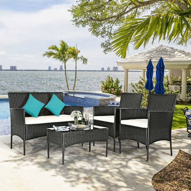 Costway 4 PC Outdoor Rattan Furniture Set Loveseat Sofa Cushioned Patio Garden Steel
