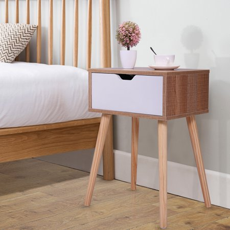 Jaxpety Mid-Century Wooden Nightstand Side End Table with White Storage Drawer for Bedroom Living Room Bedroom Mahogany Side Table