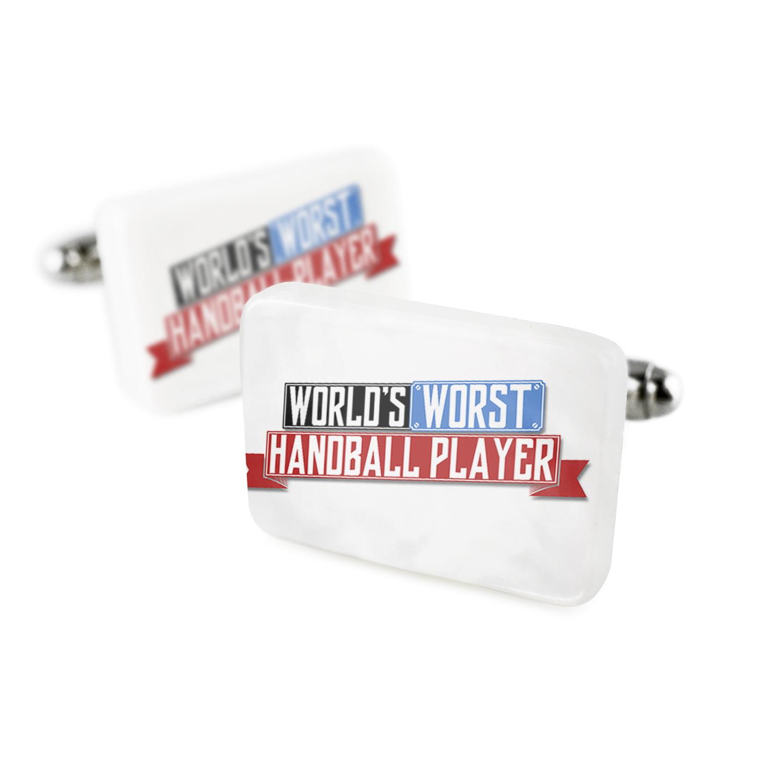 Cufflinks Funny Worlds worst Handball PlayerPorcelain Ceramic NEONBLOND by NEONBLOND